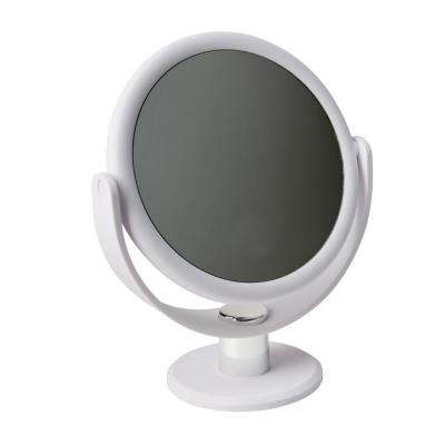 Dual Sided 10X Magnification 7 in. Rubberized Vanity Mirror in White