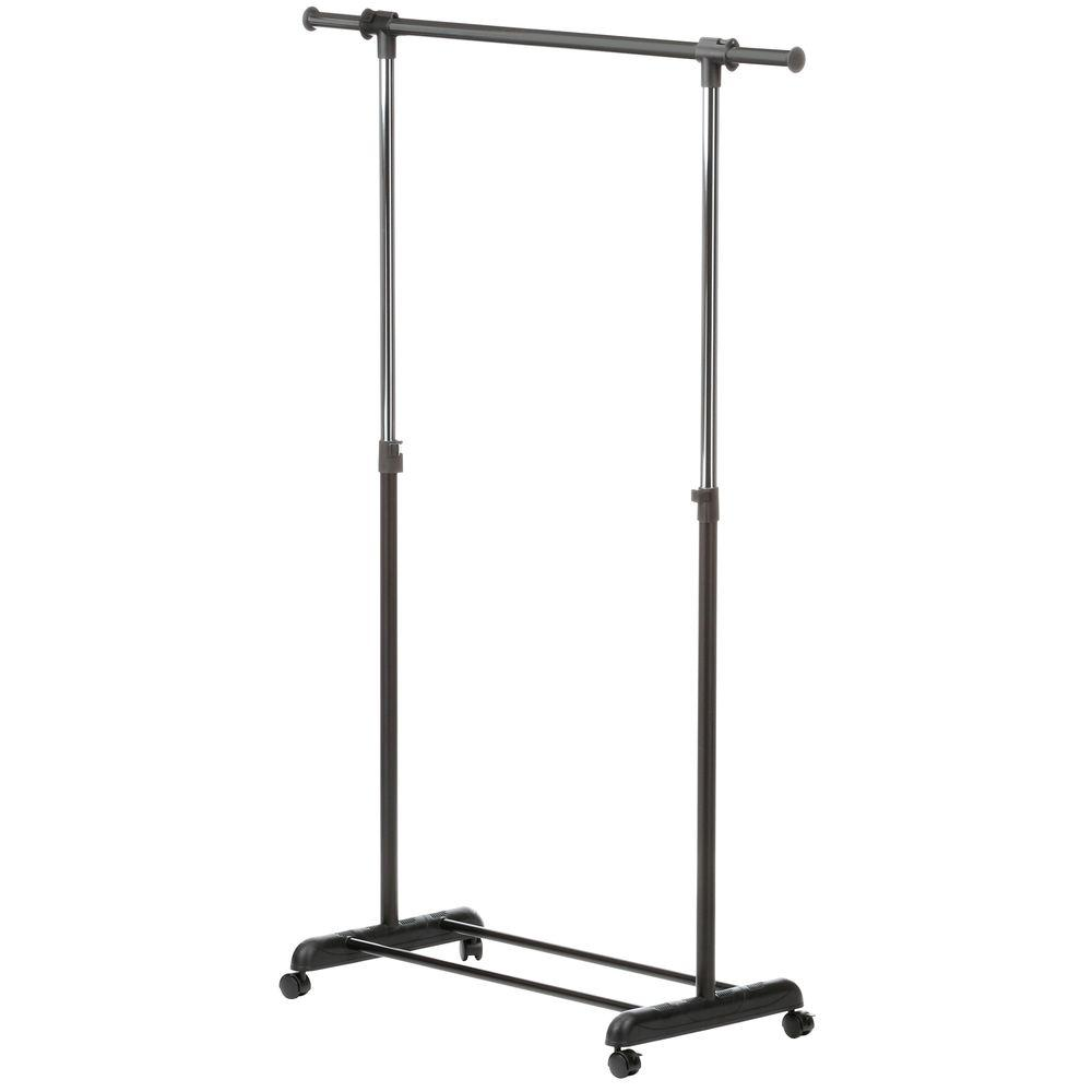 Honey Can Do Expandable Steel Rolling Garment Rack In Chrome Black