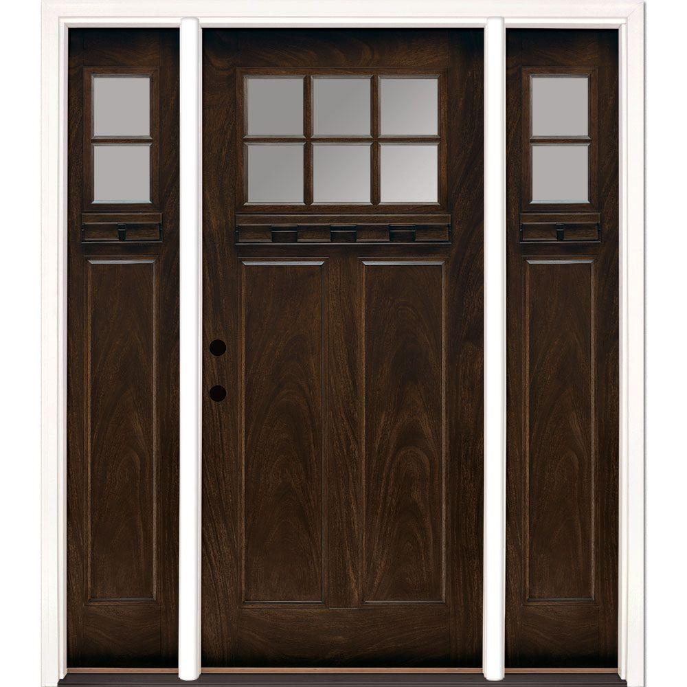 Feather River Doors 63.5 in.x81.625 in. 6 Lt Clear Craftsman Stained Chestnut Mahogany Right-Hand Fiberglass Prehung Front Door w/ Sidelites