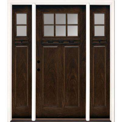 63.5 in.x81.625 in. 6 Lt Clear Craftsman Stained Chestnut Mahogany Right-Hand Fiberglass Prehung Front Door w/ Sidelites
