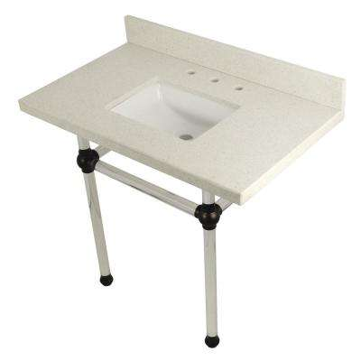 Square-Sink Washstand 36 in. Console Table in White Quartz with Acrylic Legs in Oil Rubbed Bronze