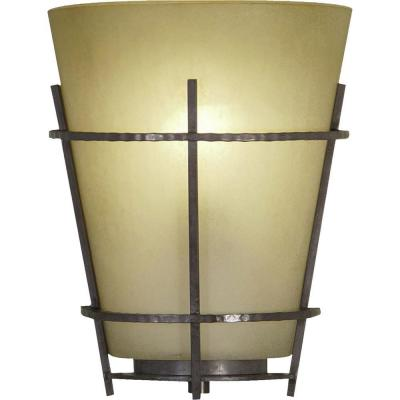 Lodge 1-Light Indoor Frontier Iron Wall Mount or Wall Sconce with Empire Sandstone Glass Shade