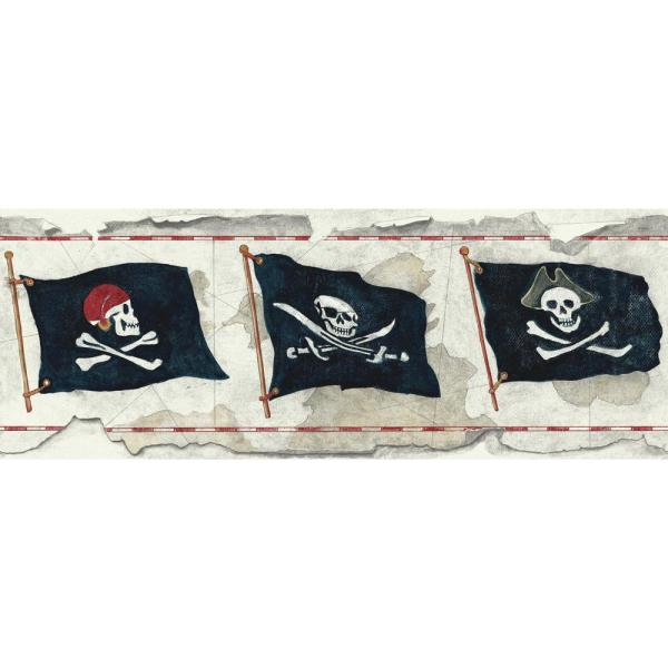 York Wallcoverings Brothers and Sisters V Pirate Flag Wallpaper Border SB7751B