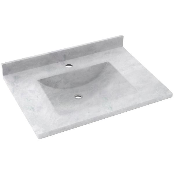 Contour 25 in. W x 22 in. D Solid Surface Vanity Top with Sink in Ice