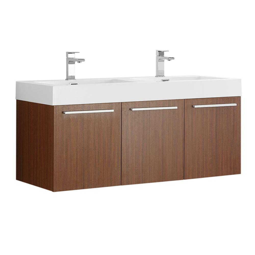 Fresca Vista 48 in. Modern Wall Hung Bath Vanity in Teak with Double Vanity Top in White with White Basins