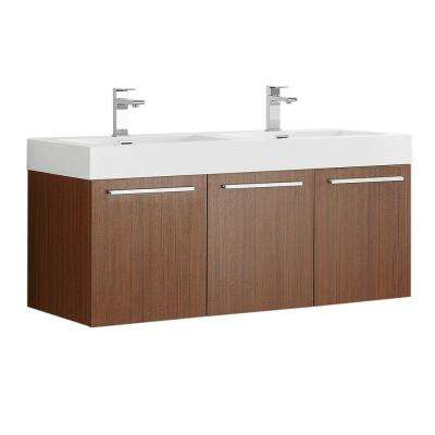 Vista 48 in. Modern Wall Hung Bath Vanity in Teak with Double Vanity Top in White with White Basins