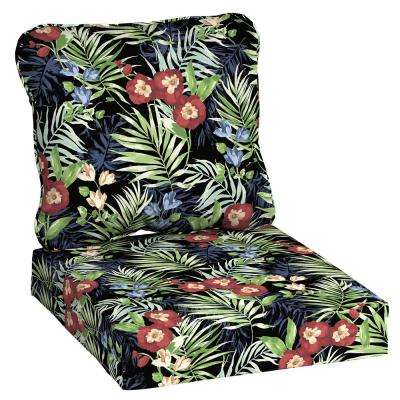 24 in. x 22 in. Black Tropical Deep Seating Outdoor Lounge Chair Cushion