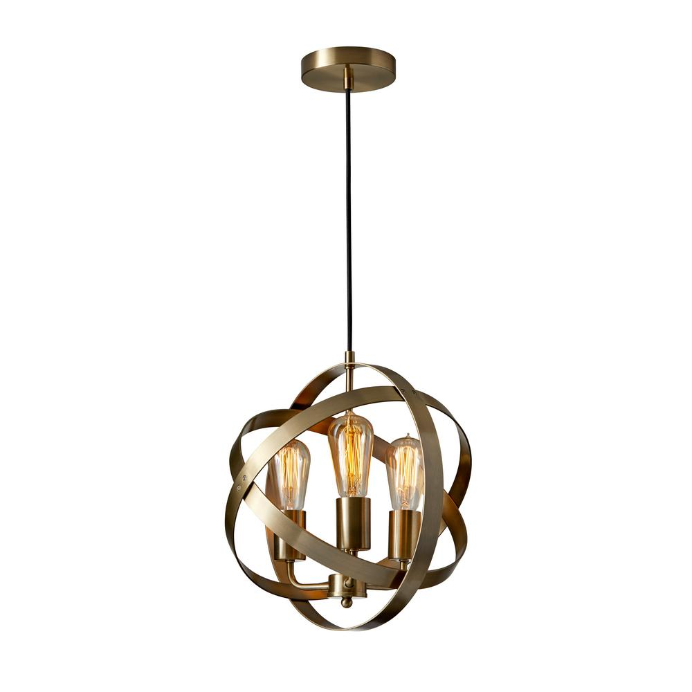 Adesso Donovan 3 Light Antique Brass Pendant Lamp 3872 21 The Home