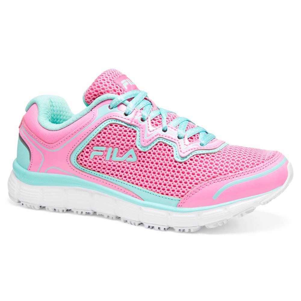 Fila Women's Memory Fresh Start Slip Resistant Athletic Shoes Soft Toe Fair AquaElectric Blue Size 5(M)