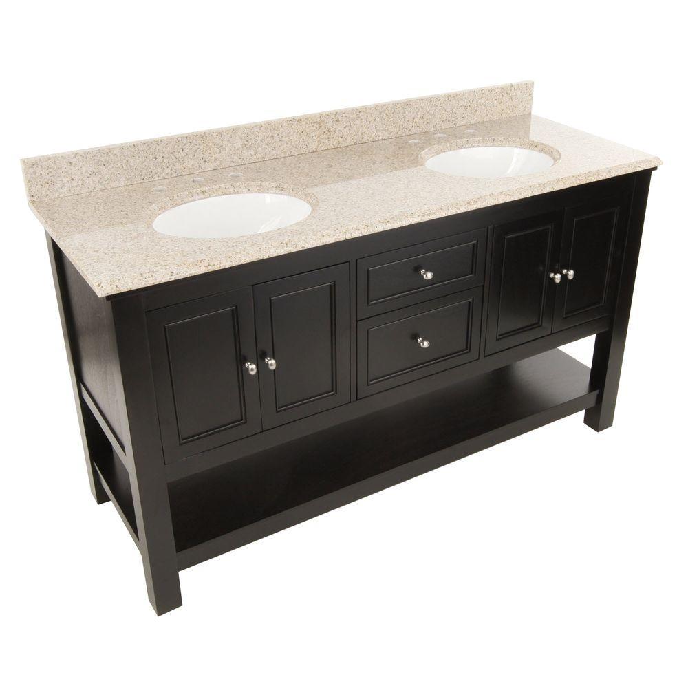 Gazette 61 in. W x 22 in. D Double Bath Vanity in Espresso with Granite Vanity Top in Beige