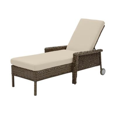 Laguna Point Brown Wicker Outdoor Patio Chaise Lounge with CushionGuard Putty Tan Cushions