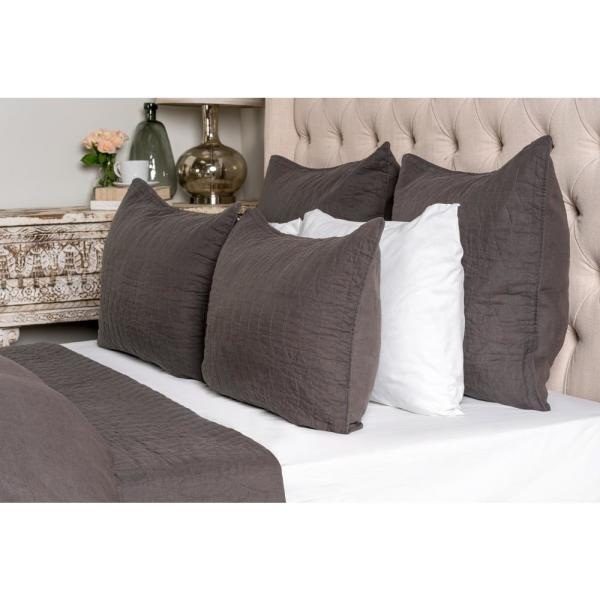 undefined Cressida Charcoal Solid Queen Coverlet