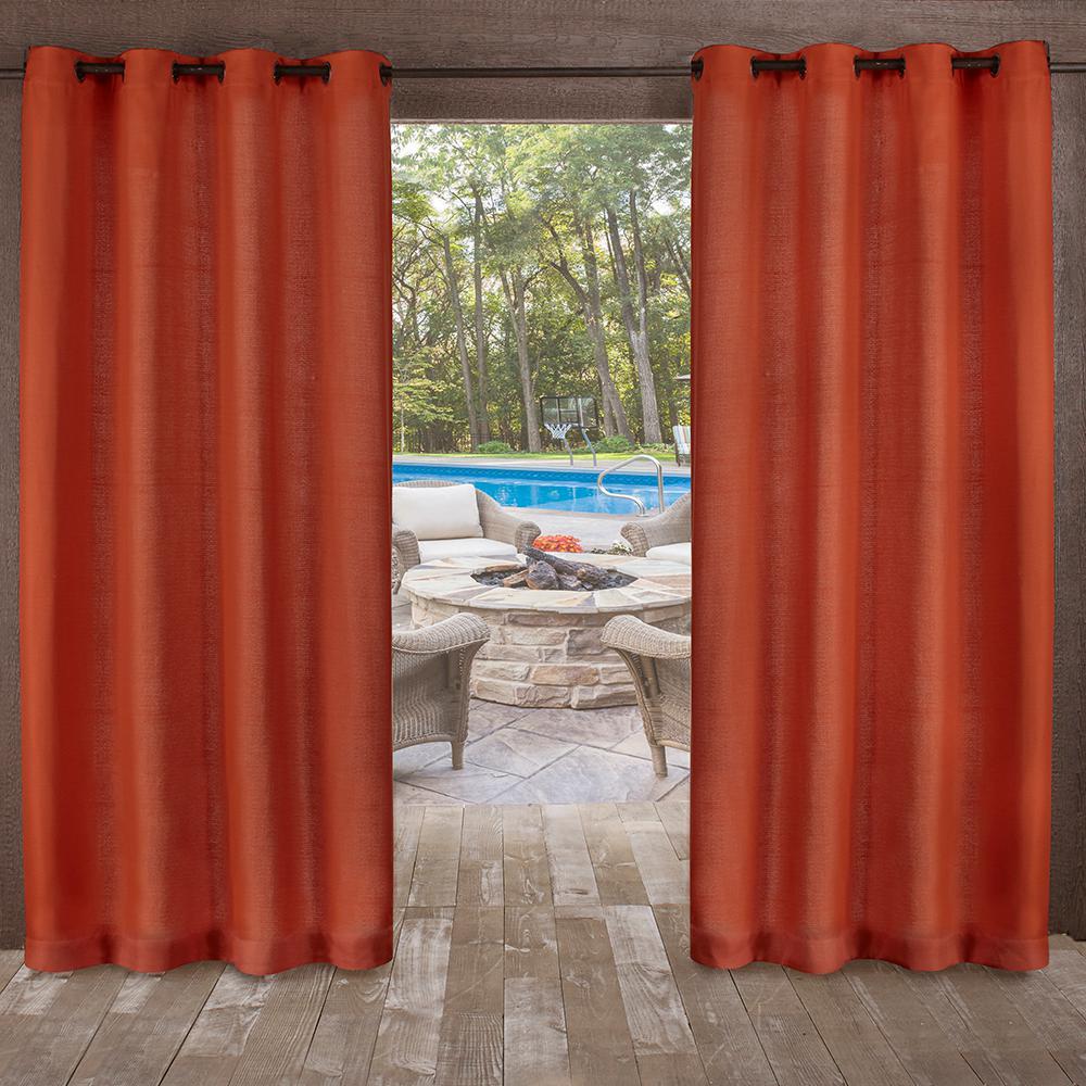 Delano 54 in. W x 108 in. L Indoor Outdoor Grommet Top Curtain Panel in Mecca Orange (2 Panels)