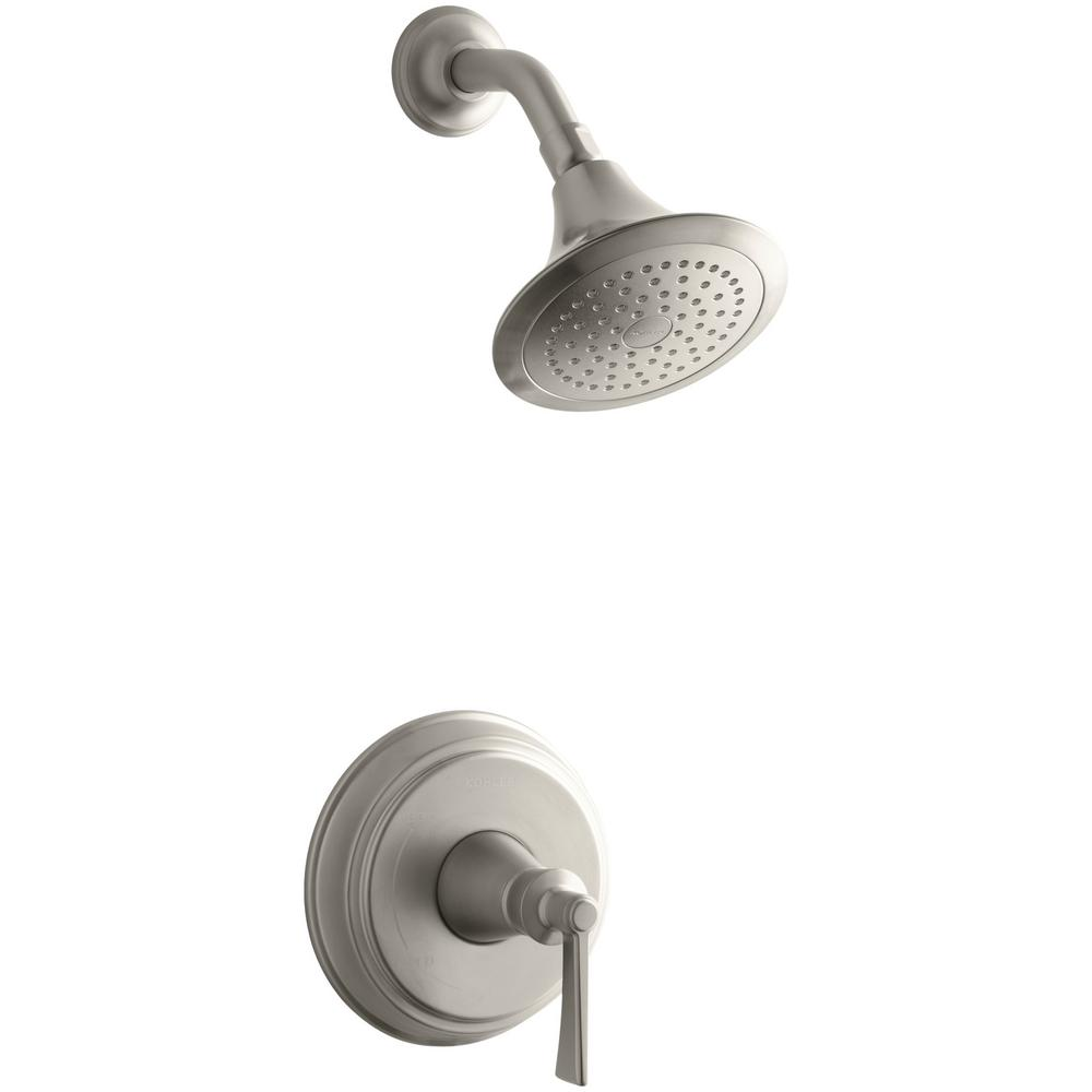 Archer 1-Spray 6.5 in. 2.5 GPM Fixed Shower Head with Lever