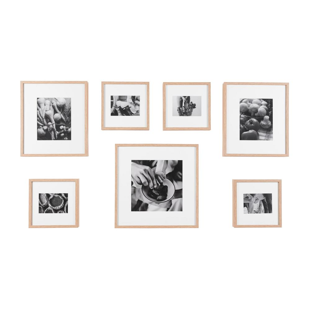 Stylewell Stylewell Natural Wood Frame With White Matte Gallery Wall Picture Frames Set Of 7 H5 Ph 275 The Home Depot