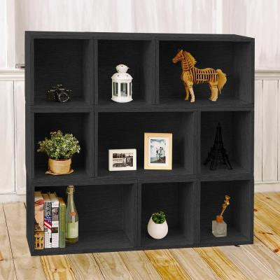 46.4 in. Black Wood 9-shelf Standard Bookcase with Cubes