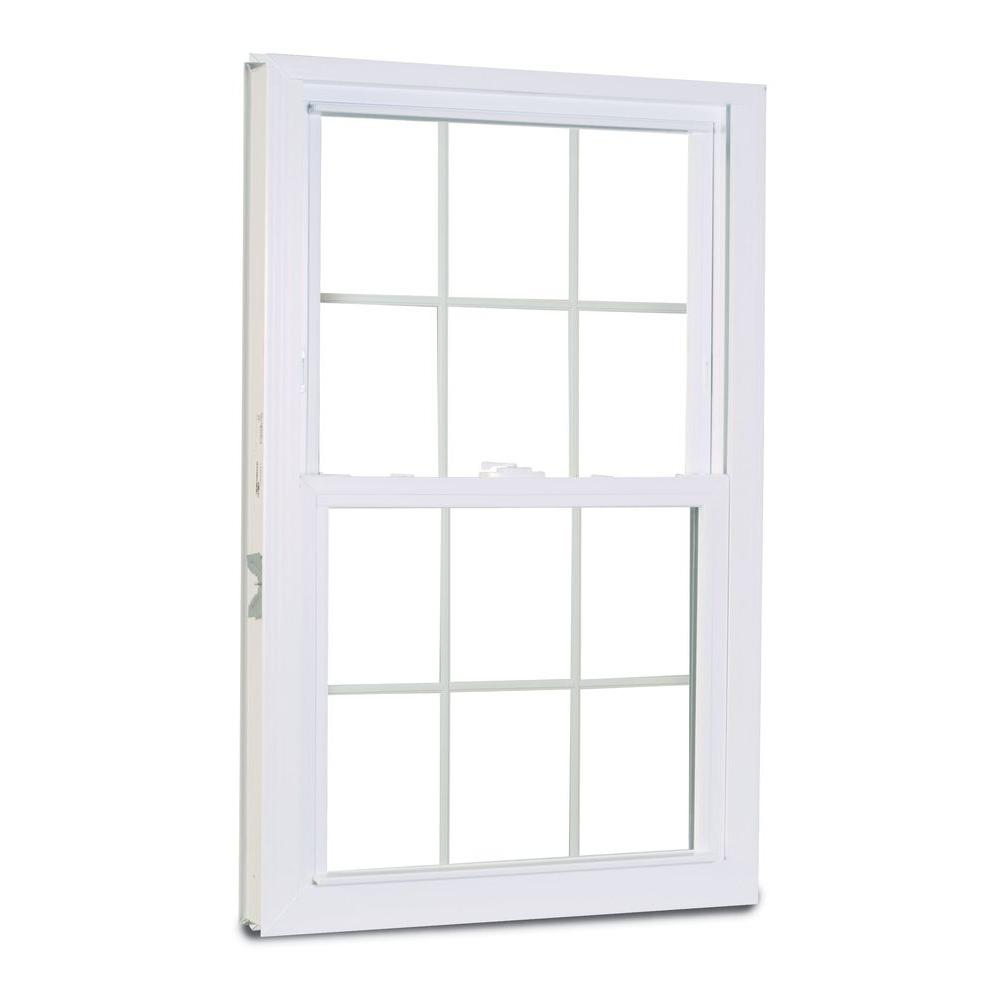 American Craftsman 27.75 in. x 53.25 in. 1200 Series Double Hung Buck Vinyl Window with Grilles - White