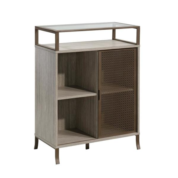 Center City Champagne Oak Storage Cabinet with Sliding-Door