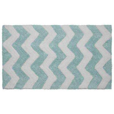 Reversible Cotton Soft Zigzag Aquatic Blue 21 in. x 34 in. Bath Mat