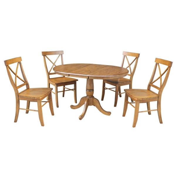Laurel 5-Piece 36 in. Distressed Pecan Extendable Solid Wood Dining Set with Alexa Chairs