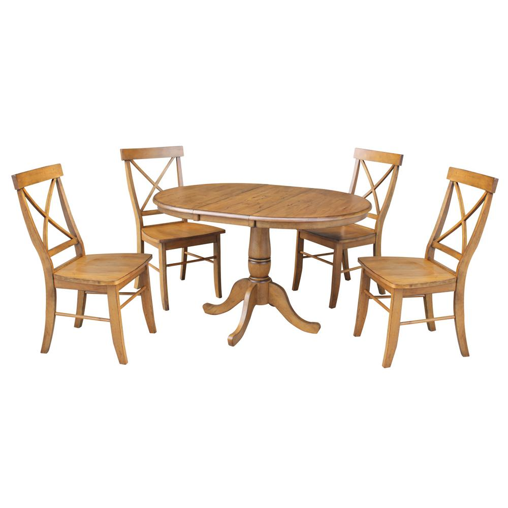 International Concepts Laurel 5 Piece Pecan Oval Solid Wood Dining Set With Alexa Chairs K59 36RXT C613 4