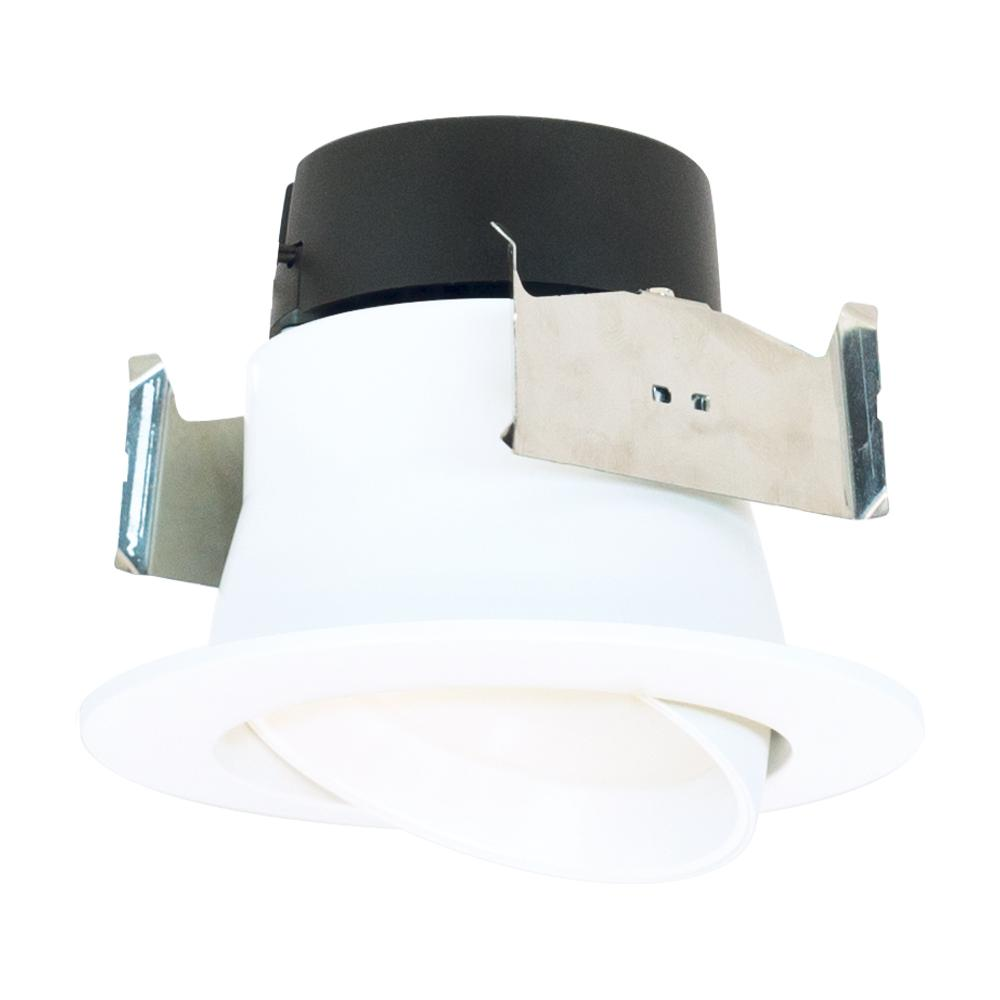 Halo La 4 In White Integrated Led Recessed Ceiling Light Fixture Adjule Gimbal Trim At