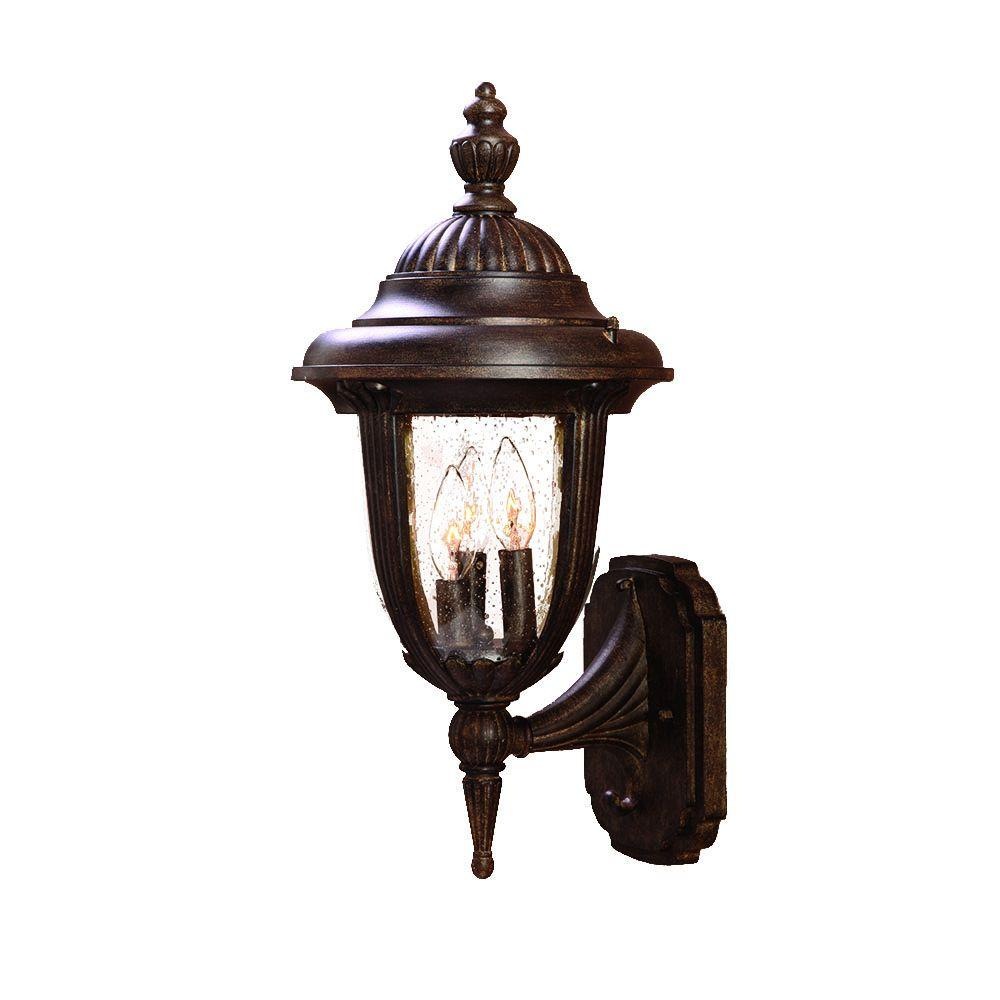 Monterey Collection 3 Light Black Coral Outdoor Wall Mount Light Fixture