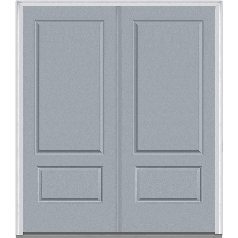Mmi door 72 in x 80 in right hand inswing 2 panel for Prehung exterior doors with storm door
