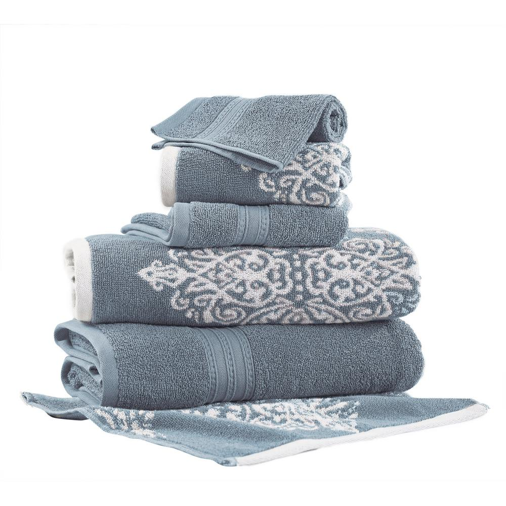 Artesia Damask 6-Piece Cotton Bath Towel Set in Sterling Blue
