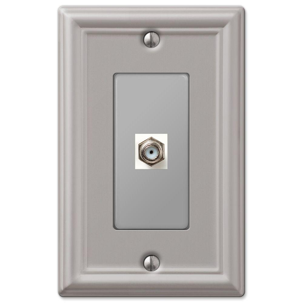 hampton bay chelsea 1 coaxial wall plate brushed nickel 149cxbn the home depot. Black Bedroom Furniture Sets. Home Design Ideas