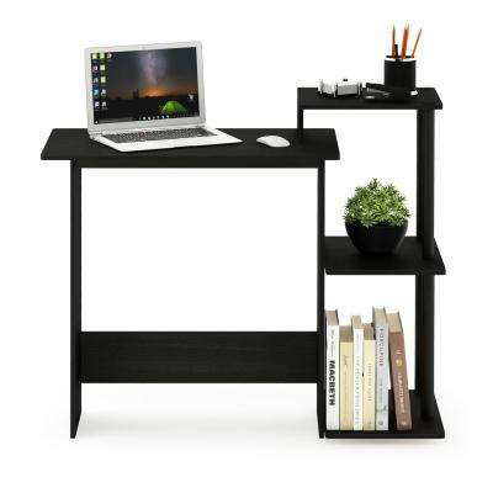 Efficient Americano/Black Home Computer Desk with Shelves