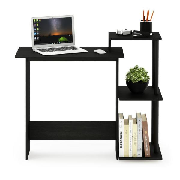 Furinno Efficient Americano/Black Home Computer Desk with Shelves 11192AM/BK