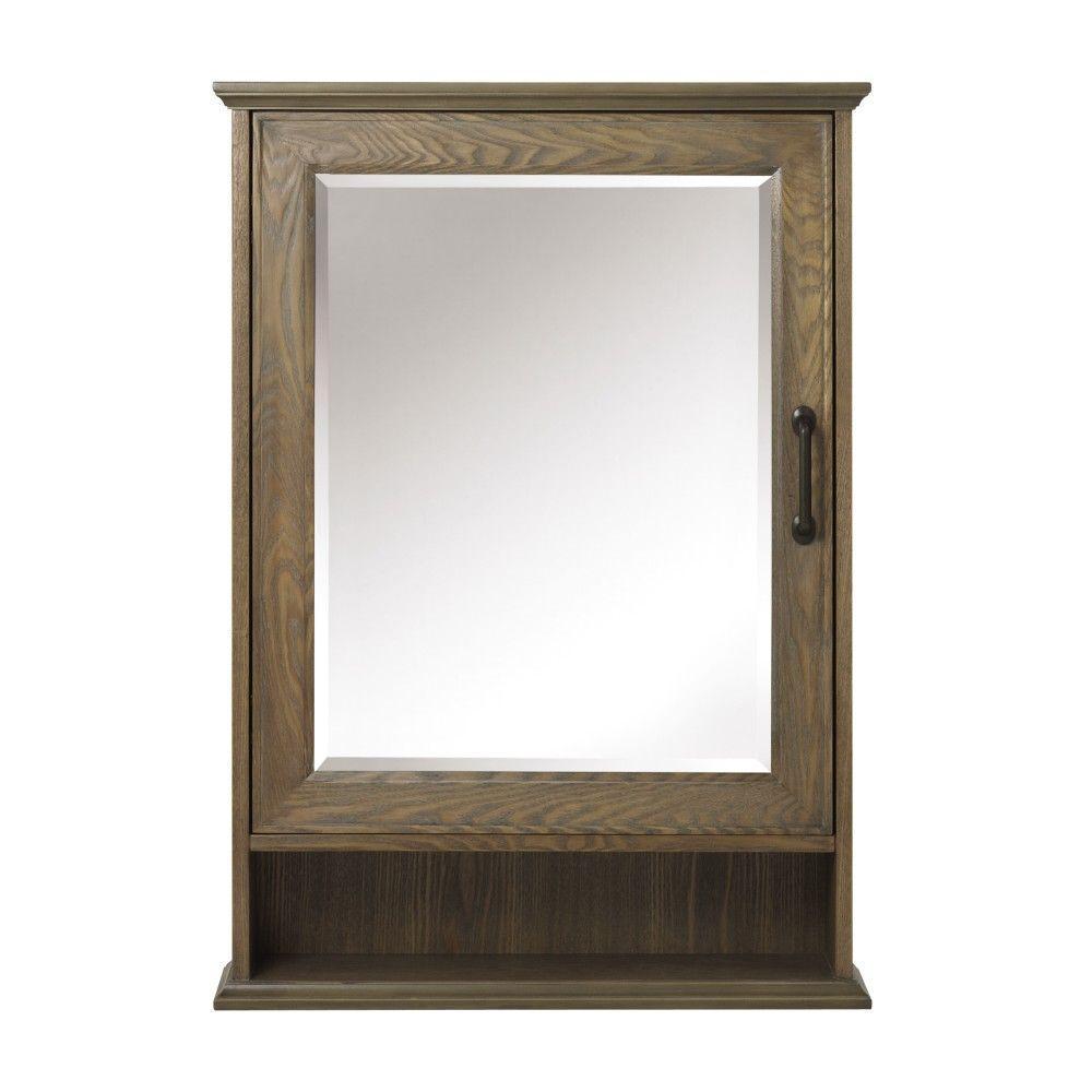 Walden 24 in. W x 34 in. H Framed Surface-Mount Bathroom Medicine Cabinet in Driftwood Grey