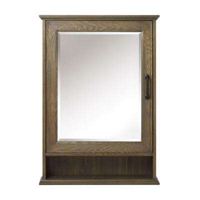 Walden 24 in. W x 34 in. H Framed Surface-Mount Bathroom Medicine Cabinet in Driftwood Grey