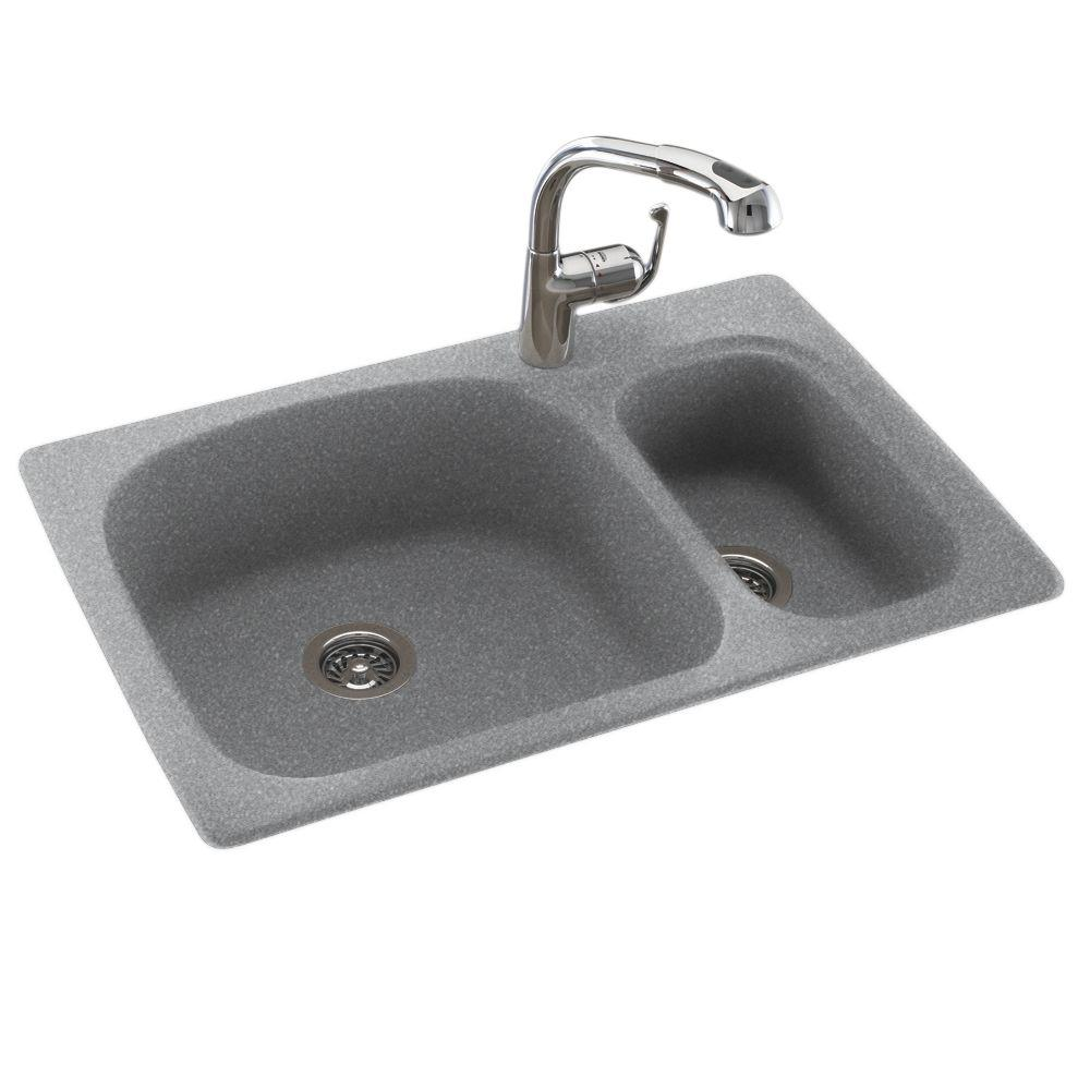 Small Double Sink Kitchen Swan drop inundermount composite 33 in 1 hole 7030 double bowl store so sku 1000635738 workwithnaturefo