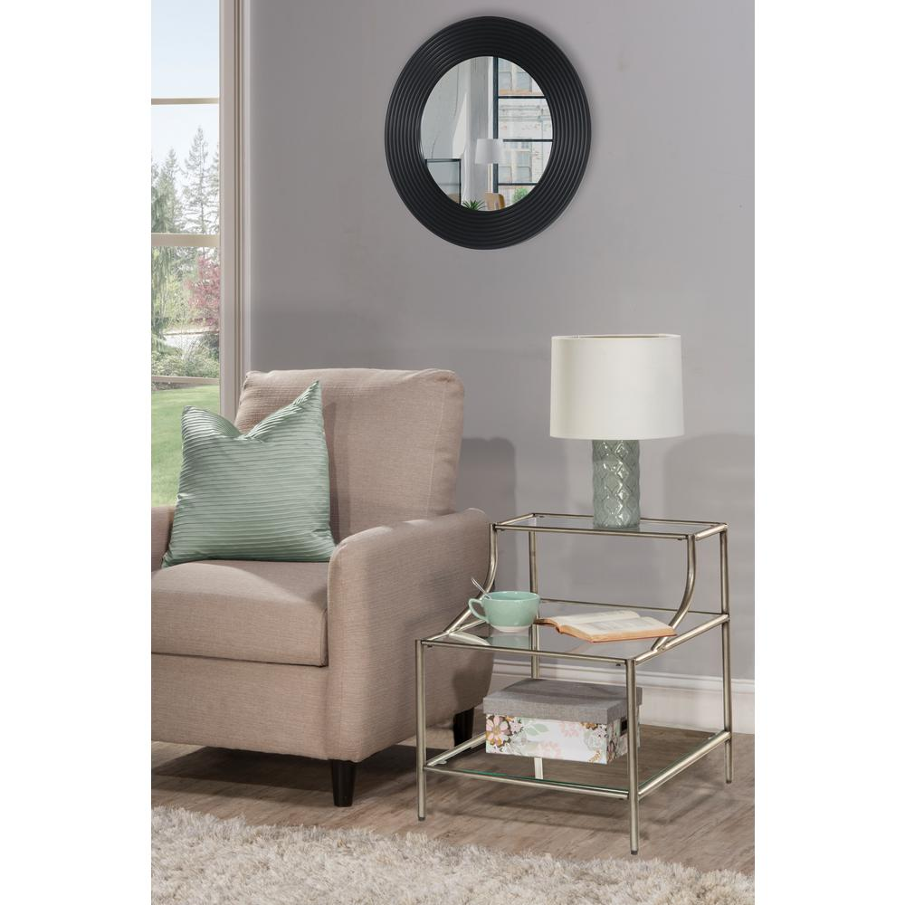 Hillsdale Furniture Corbin Silver Step Table With Three Glass Shelves