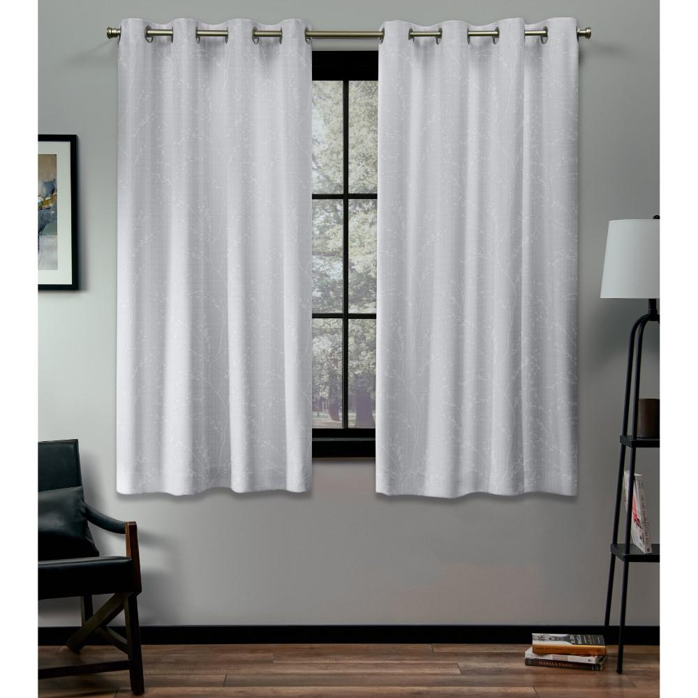 Exclusive Home Curtains Kilberry 52 in. W x 63 in. L Woven Blackout Grommet Top Curtain Panel in Winter (2 Panels)