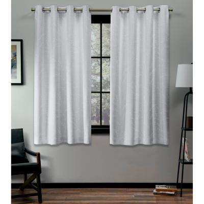 Kilberry 52 in. W x 63 in. L Woven Blackout Grommet Top Curtain Panel in Winter (2 Panels)