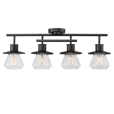 Nate 2 ft. 4-Light Dark Bronze Track Lighting Kit with Clear Glass Shades
