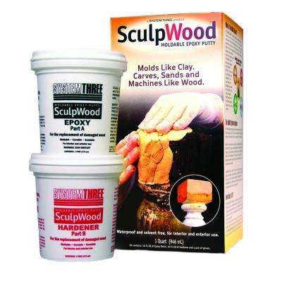 Sculpwood 1 qt. 2 Part Epoxy Putty Kit with 16 oz. Resin and 16 oz. Hardener