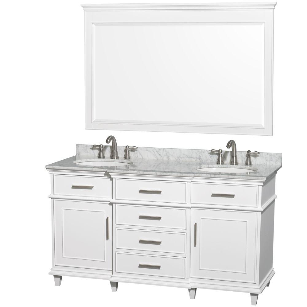 Wyndham Collection Berkeley 60 In. Double Vanity In White With Marble Vanity  Top In Carrara