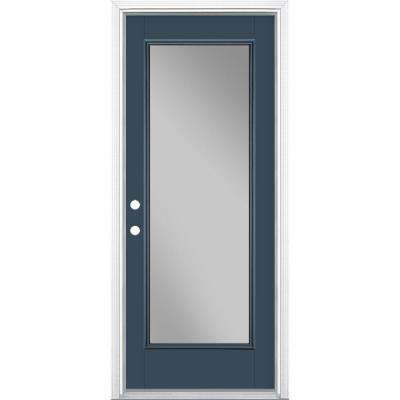 32 in. x 80 in. Full Lite Night Tide Right-Hand Inswing Painted Smooth Fiberglass Prehung Front Door w/ Brickmold