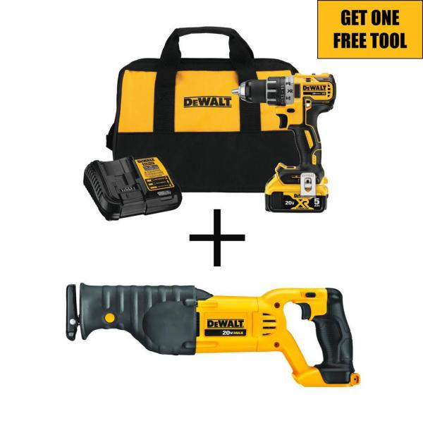 20-Volt MAX XR Cordless Brushless 1/2 in. Drill/Driver Kit with FREE 20-Volt Cordless Reciprocating Saw