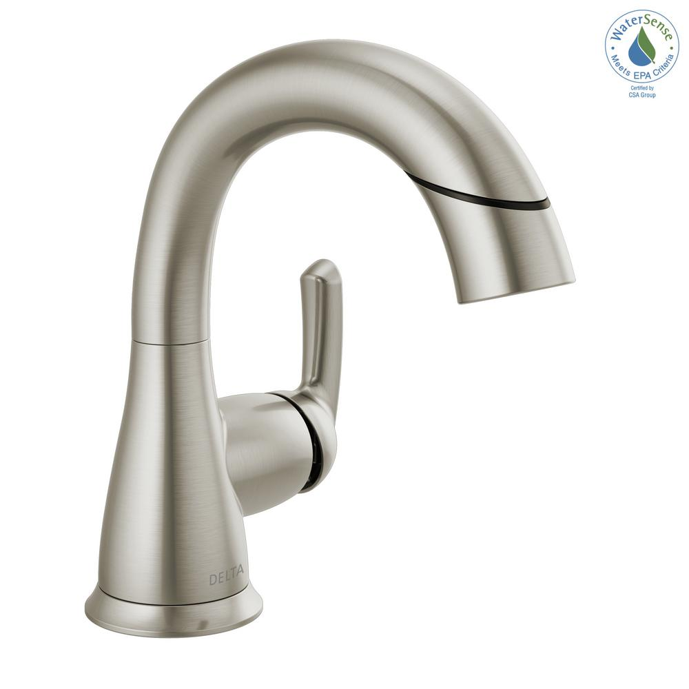Delta Delta Broadmoor 4 in. Centerset Single-Handle Pull-Down Sprayer Bathroom Faucet in SpotShield Brushed Nickel