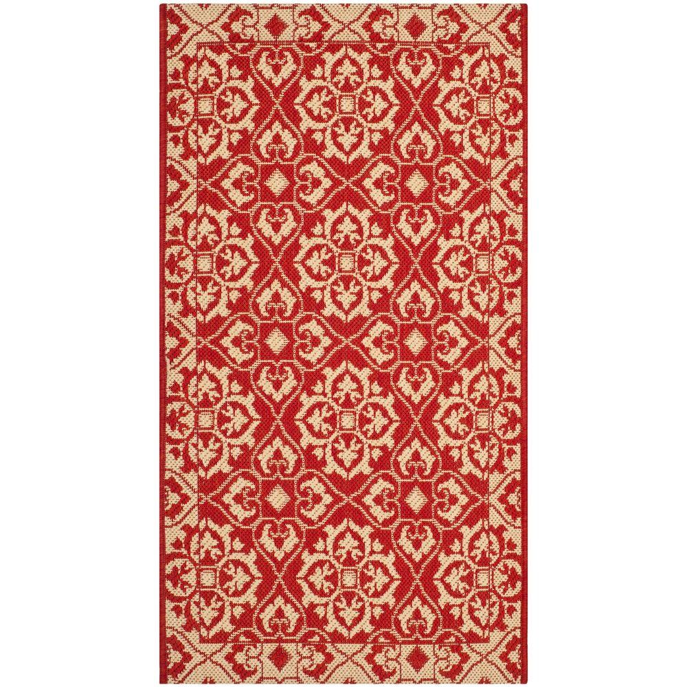 Safavieh courtyard red cream 2 ft 7 in x 5 ft indoor for Cream and red rugs