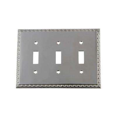 Egg and Dart Switch Plate with Triple Toggle in Bright Chrome
