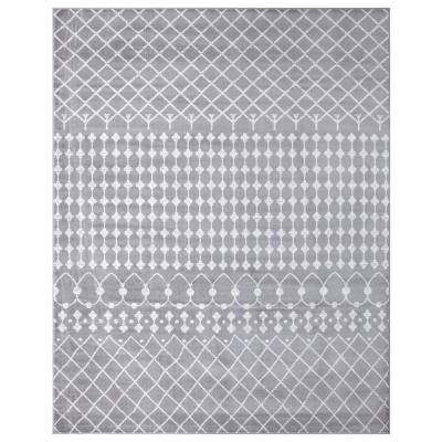 Jasmin Collection Moroccan Trellis Design Gray and Ivory 7 ft. 8 in. x 9 ft. 8 in. Area Rug