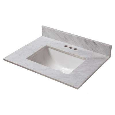 25 in. W x 22 in. D Marble Vanity Top in Carrara with White Trough Basin