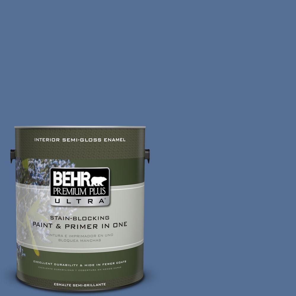BEHR Premium Plus Ultra 1-gal. #M530-6 Charter Blue Semi-Gloss Enamel Interior Paint