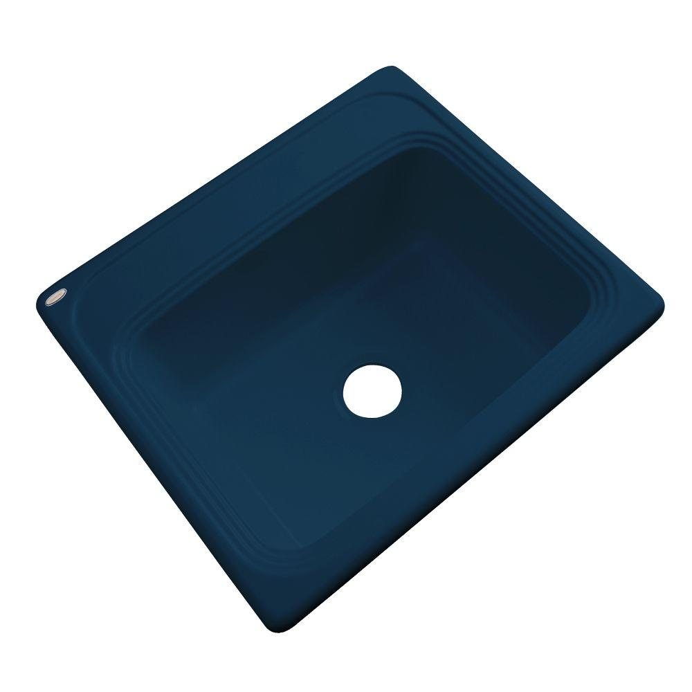 Thermocast Wellington Drop-in Acrylic 25x22x9 in. 0-Hole Single Basin Kitchen Sink in Navy Blue
